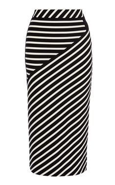 Striped jacquard jersey midi skirt