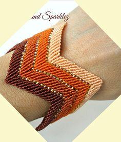 Wide cuff bracelet ombre orange brown cuff by KNOTSANDSPARKLEZ