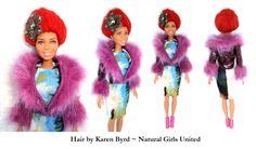 Red brushed out up do hair doll. Hair by Karen Byrd. Natural Girls United. www.naturalgirlsunited.com