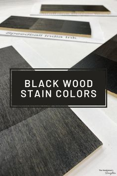 Looking for the perfect true black wood stain color? I sampled four black wood stain colors on five different wood species to compare results and take the guesswork out of your search! Black Wood Stain, Diy Wood Stain, Wood Stain Colors, Grey Wood, Paint Colours, Diy Furniture Projects, Cool Diy Projects, Woodworking Projects, Furniture Redo