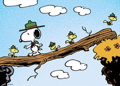 Snoopy and Woodstock play outside