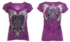 Archaic AFFLICTION Womens T-Shirt DARLING Heart Tattoo Biker Sinful S-XL $40 b