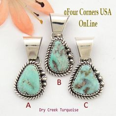 Petite Dry Creek Turquoise Sterling Pendant Navajo Artisan Alice Johnson NAP-1564 Four Corners USA OnLine Native American Jewelry