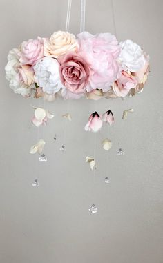 Obsessed with this custom faux floral mobile! All colors are customized to match your decor and your orders are created and shipped in our San Diego shop. Once shipped you receive it days later! Link to our shop is in bio! Blush Nursery, Baby Girl Nursery Decor, Floral Nursery, Nursery Ideas, Baby Room, Mobiles, Baby Mädchen Mobile, Flower Mobile, Floral Letters