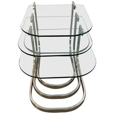 Design Institute of America 'DIA' Chrome and Glass Nesting Tables   1stdibs.com