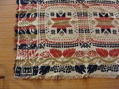 2 Panel CA 1850 Jacquard Coverlet No Reserve | eBay