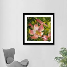 Wild Lilies. Original Oil Painting. Blooming Spring. Pink