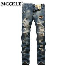 MCCKLE Fashion Hole Straight Destroyed Jeans Casual Slim Ripped Jeans Men's Trousers Denim Jogger Jeans Pants #Affiliate