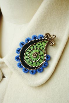 Felt and zipper paisley brooch by woollyfabulous on Etsy,
