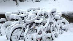 Snow covers a bike rack on the campus of the College of William & Mary on Thursday. (Photo by Joe Fudge / Daily Press)