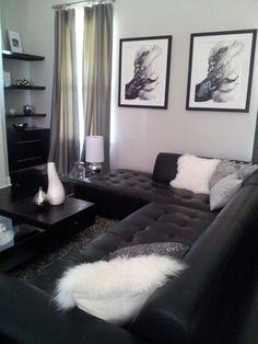 black and white living room interior design ideas | dark sofa, hot