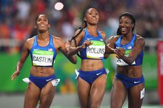 Kristi Castlin, Brianna Rollins, and Nia Ali (USA) celebrate after winning medals during the women's 100-meter hurdles.