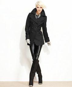 GUESS Coat, Wool-Blend Cutaway Pea Coat - Charcoal