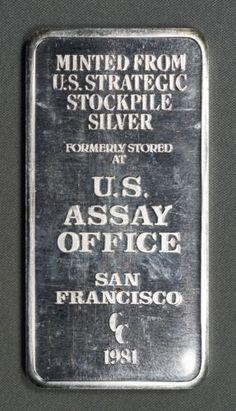 1981 CC US Assay Office, San Francisco 10 oz 0.999 Fine Silver Bar