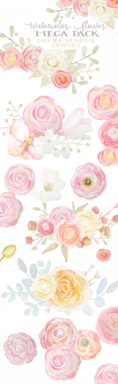 Watercolor Flowers Mega Pack by WeLivedHappilyEverAfter on Creative Market