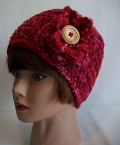 Ladies Berry Red Chunky Crochet Beanie by KarensCrochetCottage