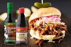Lee Kum Kee Premium Soy Sauce mixed with Hoisin Sauce make for a delicious pulled pork marinade! 😀😍🍔