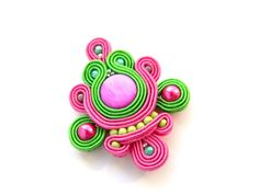 Multi-color pendant soutache embroidered pendant by anatydesign