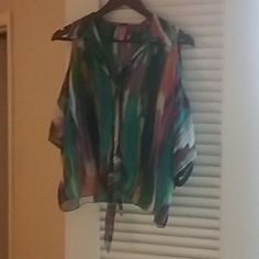 Top Rainbow color top tie up front cute w jeans Tops Button Down Shirts