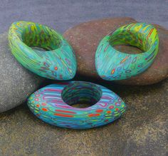 Color Challenge Rings by DDee Wilder, polymer clay.