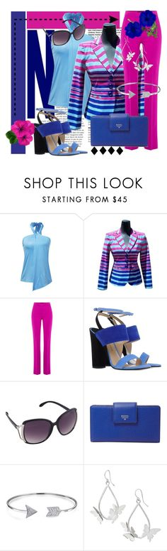 """Heeled Sandals - Pink & Blue"" by happychristy ❤ liked on Polyvore featuring Nanette Lepore, Boutique Moschino, Paul Andrew, FOSSIL and Bling Jewelry"