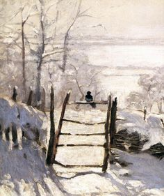 """~ """"The Magpie"""", painted near Etratat, Normandy, by Claude Monet, aka Oscar-Claude Monet a Founder of French Impressionist Painting . Claude Monet, Monet Paintings, Impressionist Paintings, Gravure Illustration, Illustration Art, Landscape Art, Landscape Paintings, Landscapes, Artist Monet"""