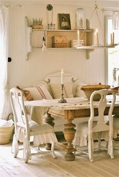pretty palette - interesting back to what appears to be a bench - like the worn wood on the table's skirt and legs