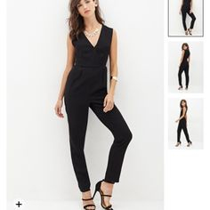 "Classy beautiful black jumpsuit with pleats Crossover top, brand new! Invisible Back zipper. 30"" inseam Pants Jumpsuits & Rompers"