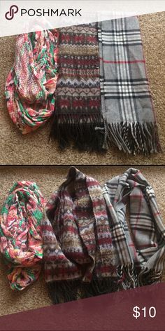 3 Scarf Bundle Gently worn scarves. Floral pink/green one is infinity style. Other 2 are regular style. Very cute & trendy! Priced to sell!! Accessories Scarves & Wraps