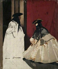 Masked Figures (unfinished) early 20th century by Sir William Orpen (1878-1931)