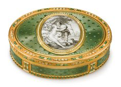A gold and enamel snuff box, maker's mark M & P crowned, Swiss or German, circa 1790