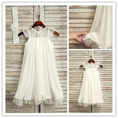 A-line Short/Mini Flower Girl Dress - Chiffon Sleeveless – USD $ 49.99