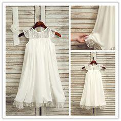 A-line Short/Mini Flower Girl Dress - Chiffon Sleeveless – USD $ 49.99