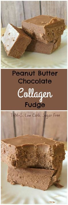 Peanut Butter Chocolate Collagen Fudge (THM-S, Low Carb, Sugar Free, Gluten Free)