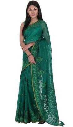Green Embroidered Muslin Saree