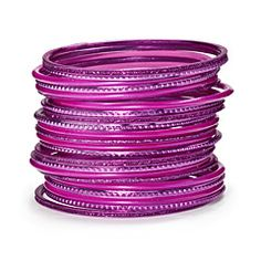 CANDYFLOSS BANGLE STACK -- Hot pink gives this stack a stylish, modern look. Flirty and feminine with a confident streak? This bangle stack is for you. All our fucshia favourites with plenty of gems. £5