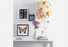 No terraço da loja Coisas da Doris cabem cadeiras Thonet nas cores prata e dourada, tapete Pink e plantas penduradas por barbantes de fibra natural. Na parede, a cortina esconde uma porta. Para decorar, espelho indiano e borboletas, que a proprietária trouxe de Paris