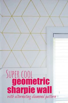 Super Cool Geometric Sharpie Wall with alternating diamond pattern.  It's NOT that hard! I pinky promise!