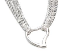 """Open heart pendant on 17"""" 4-strand necklace. Pretty polished sterling silver."""