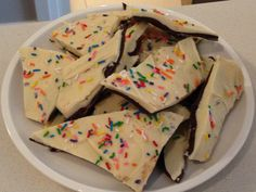 "Chocolate Bark Recipe, ""This is a fun and easy-to-make alternative (or addition) to birthday cake for casual or last-minute celebrations. It's convenient for cottage or ski chalet getaways, classroom or office celeb…"""