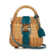Mark Cross Manray mini rattan cross-body bag (2,390 CAD) ❤ liked on Polyvore featuring bags, handbags, shoulder bags, dark green, mini cross body handbags, mini purse, crossbody purses, cross body and mini shoulder bag