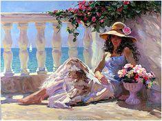 (Russia) Mediterranean Balcony, 2005 by Vladimir Volegov (1957-   ). Oil on canvas. 91×122cm