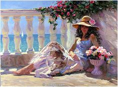 (Russia) Mediterranean Balcony, 2005 by Vladimir Volegov (1957-   ). Oil on canvas. 91×122cm