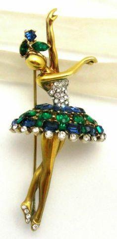 A Vintage Crown Trifari Alfred Philippe Ballerina Brooch Rhinestones. Antique Jewelry, Vintage Jewelry, Royal Jewelry, Cute Jewelry, Jewelry Ideas, Vintage Costume Jewelry, Vintage Costumes, Diamond Brooch, Accessories
