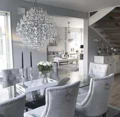 Luxury 24 Modern Table Dining Room Design In 2019 - Home Decor Interior Dining Room Table Decor, Elegant Dining Room, Luxury Dining Room, Dining Room Design, Dining Room Furniture, Living Room Decor, Furniture Stores, Furniture Design, Dining Rooms