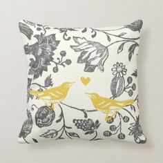 Trendy Mint Gray Vintage Modern Floral Bird Throw Pillow Colorful Mint Gray and Ivory Floral Pattern Pillow Vintage Birds and Vintage Floral Pattern Yellow Throw Pillows, Floral Pillows, Throw Cushions, Toss Pillows, Throw Pillow Covers, Decorative Throw Pillows, Accent Pillows, Yellow Cushions, Grey Cushions