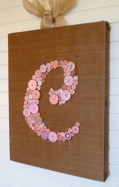 Custom Button Monogram for your Nursery on 11x14 Canvas -- Pink on Cocoa Brown Silk