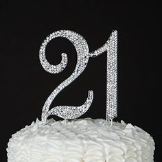 21 Cake Topper for 21st Birthday - Silver Rhinestone Party Supplies & Decoration Ideas