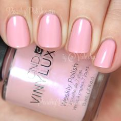 "CND's Vinylux Spring Collection 2015: ""Blush Teddy"" is a pale slightly dusty pink with pink and blue microshimmer. A beautiful truly Springy color."