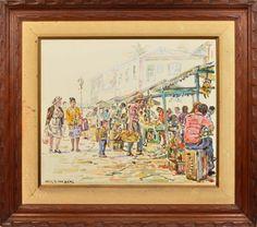 """WIN VAN DICJK - """" Feira de Ouro Preto """" óleo sobre tela, 50 x 60 cm. Assinado no canto inferior direito. No verso titulado, assinado e datado, 1985. Moldura de madeira, 75 x 85 cm."""